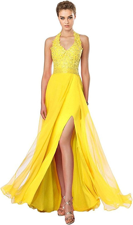 Yuanbaokj Sexy Woman Dress with Beaded Applique Halter Backless Split Prom Dress