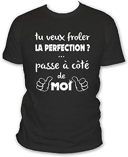 L'abricot blanc T-Shirt Humour Homme: Si tu Veux froler la Perfection Passe à coté de Moi - Idée Cadeau garçon et ado - Me...