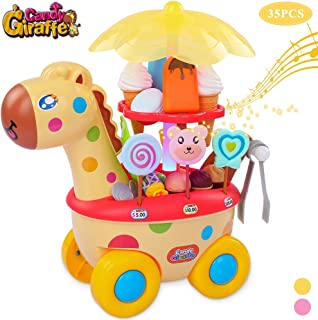 TEMI 35 PCS Giraffe Ice Cream Trolley Toy Set, Pretend Play Food Candy Cart with Sweets, Snacks, Dessert, Cash and Coins, Supermarket Play Set with Music and Lights for Kids, Boys & Girls, Yellow
