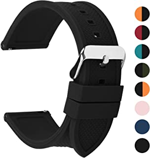 Silicone Rubber 18mm 20mm 22mm 24mm Watch Band,8 Colors for Rainbow Quick Release Watch Strap with Stainless Steel Buckle