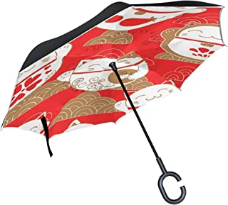 for Car Outdoor Umbrella with C-Shaped Handle Windproof Red Lucky Cats Pattern Bulldog Reverse Umbrella Patio Umbrella