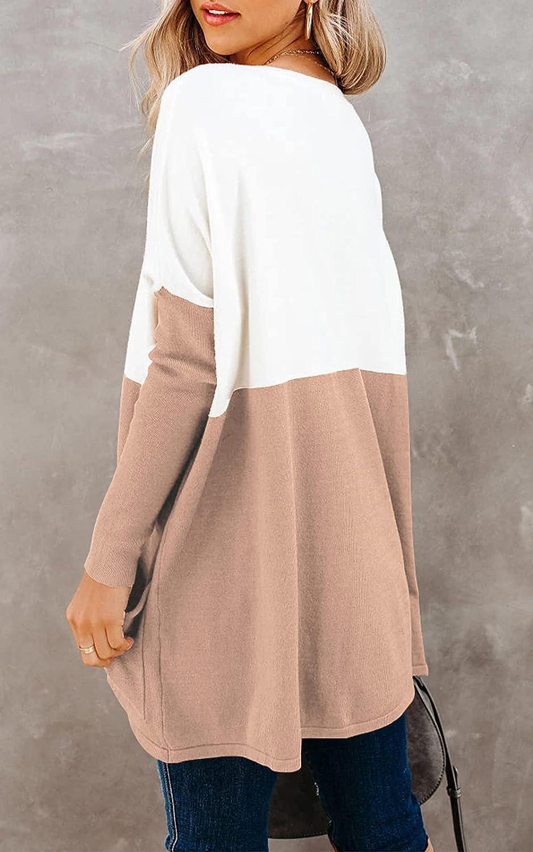 PRETTYGARDEN Women's Causal Loose Sweater Color Block Knit Pullover Off Shoulder Comfy Jumper Tops