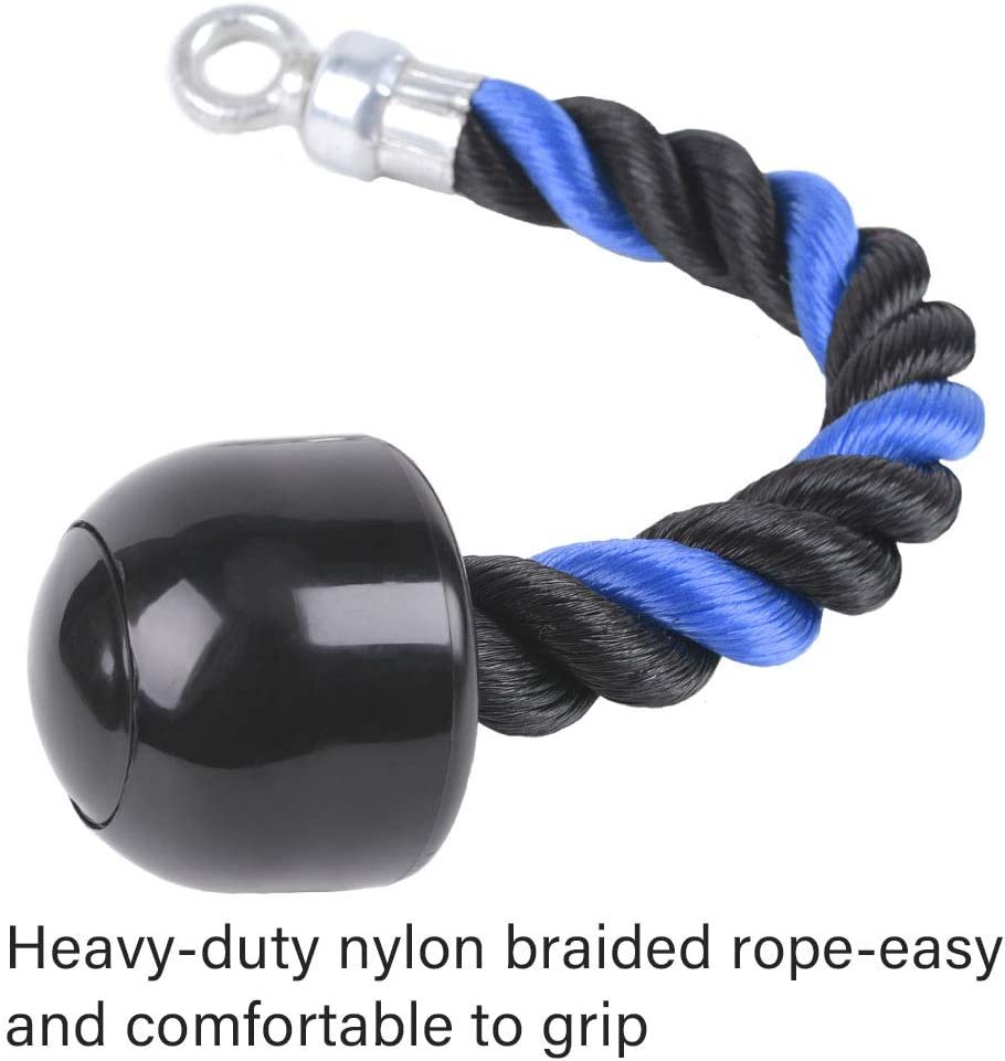 XYZDOUBLE Triceps Rope Machine Attachment Cable Nylon Braided Heavy Duty Tricep Rope Cable Attachment for Fitness with Non-Slip HandlesTraining Multi Gym Fitness Workout,Biceps,Triceps,Gym or Home