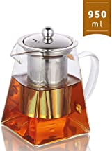 950ML/32OZ Square Glass Teapot with Heat Resistant Stainless Steel Infuser Perfect for Tea and Coffee,Clear Leaf Teapot with Strainer Lid gift for your family or friends (950ML)