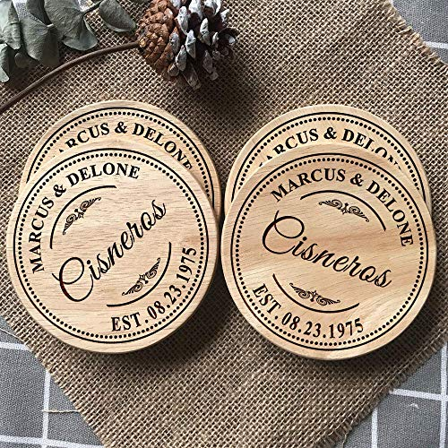 Personalized Coasters, Gifts for Wedding, Housewarming, Anniversary, Wooden Custom Engraving Coaster Present for Family, Parents, Grandparents, Couples 4x4