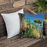 Dekokissen Kissenhülle,Landschaft Dekor, mediterrane süße Stein gemachte Dorf mit Bäumen Blüten...