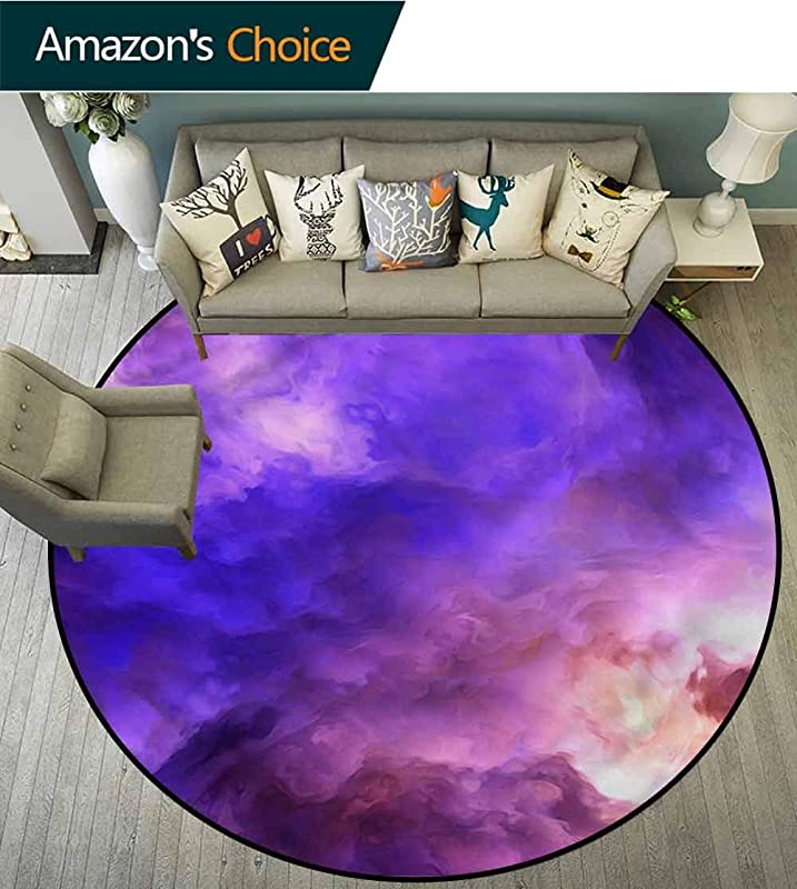RUGSMAT Purple Non Slip Area Rug Pad Round Surreal Storm Cloud Mystical Design Non Slip Fabric Round Rugs For Study Room Diameter 71
