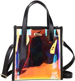 Holographic Laser Messenger Bags Jelly Rainbow Hologram Transparent Handbag for Women Composite Bag Ladies Shoulder Bag,Black