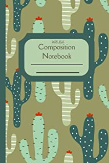 Composition Notebook Wide Rule: Retro cactus western themed standard wide ruled composition notebook journal for all writi...