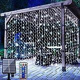 Solar Lichtervorhang Aussen, FANSIR 3 X 3m 300 LED Lichterketten Vorhang 8 Modi Fernbedienung Wasserdicht Solar Lichterketten Aussen für Gartendeko Balkon Hochzeit Weihnachten Innen (Kaltweiß)
