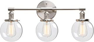 Phansthy Industrial Wall Lights, 3 Lights Wall Lamps with Switch, Hand Made Globe Clear Glass Shade Edison Bulb Lamps, E27...