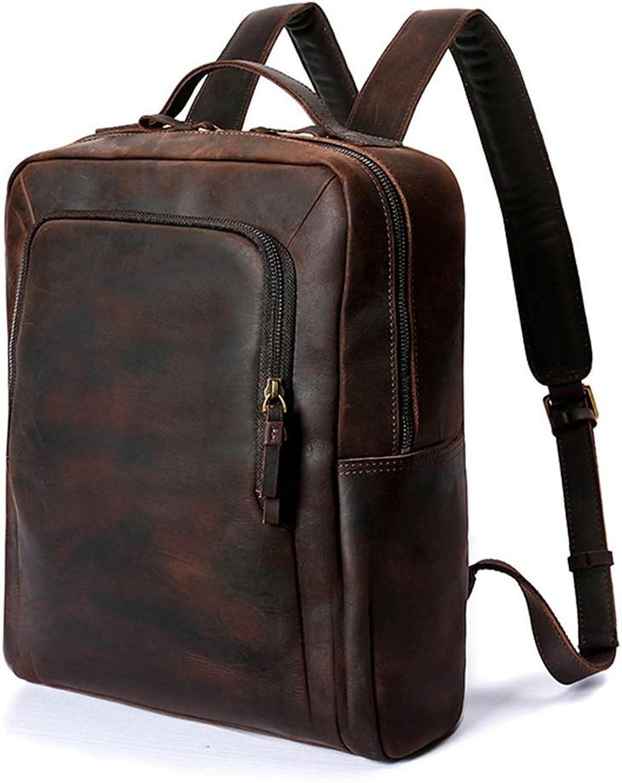 Carriemeow Men's Backpack Large Capacity Portable Casual Laptop Shoulder Tote Bag for Boys Men Backpack (color   Dark color)