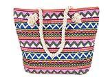 5 All Strandtasche Shopper Damen Aufdruck viele Muster Geometrie Groß XL mit Reißverschluss (Rot)