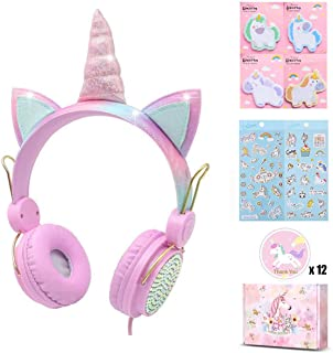 Charlxee Unicorn Kids Headphones Children Girls Teens Foldable Adjustable Headband On Ear Headphones Stereo Tangle-Free cord 3.5mm Jack Compatible iPad Cellphones Computer MP3/4 Kindle Airplane-(Pink)