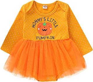 Halloween Newborn Baby Girls Outfits Mommys Little Pumpkin Long Sleeve Romper Bodysuit with Tulle Skirt