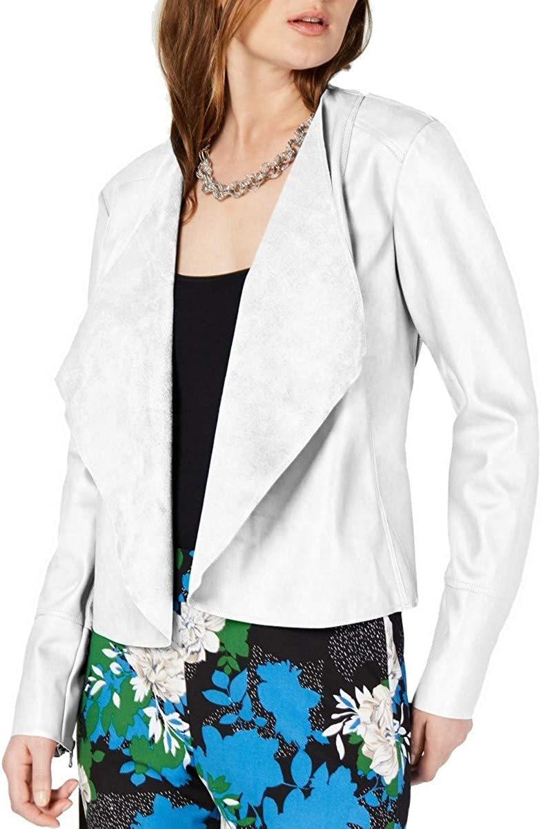 Jacksonville Mall INC Women's Draped Outlet ☆ Free Shipping Front Zip Top Jacket Cuff Basic Faux-leather