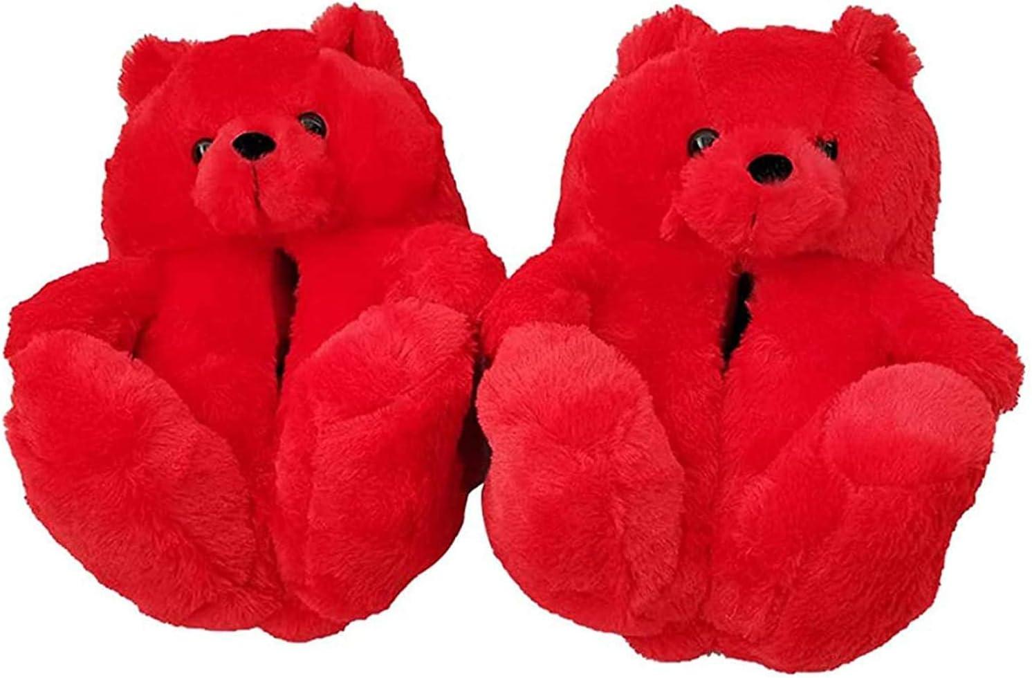 記念日 爆売りセール開催中 Plush Teddy Bear Slippers Home Ind Cute Soft Anti-Slip