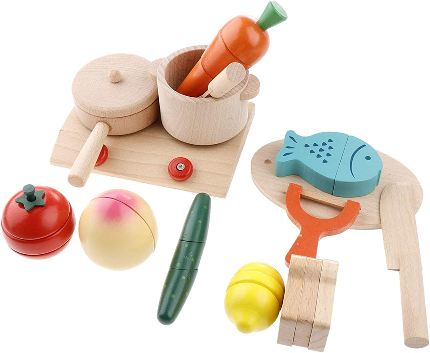 SM SunniMix Wooden Pretend Play Kitchen Toy Set, Cooking Bench, pan, stockpot, Cutting Board, Carred, Fish and Other Accessories, Kids Early Educational Toy