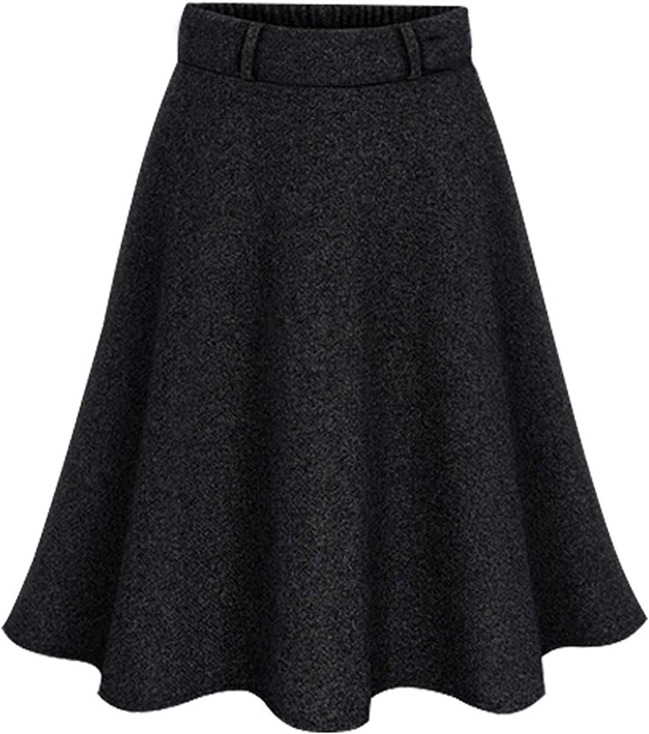 Flygo Women's Casual Elastic Waist Wool A-Line Flare Knee Length Skirt