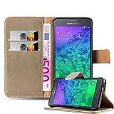 Cadorabo Hülle für Samsung Galaxy Alpha in Cappuccino BRAUN – Handyhülle mit Magnetverschluss, Standfunktion & Kartenfach – Hülle Cover Schutzhülle Etui Tasche Book Klapp Style