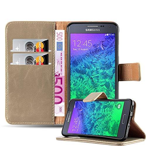Cadorabo Hülle für Samsung Galaxy Alpha - Hülle in Cappucino BRAUN – Handyhülle im Luxury Design mit Kartenfach und Standfunktion - Case Cover Schutzhülle Etui Tasche Book