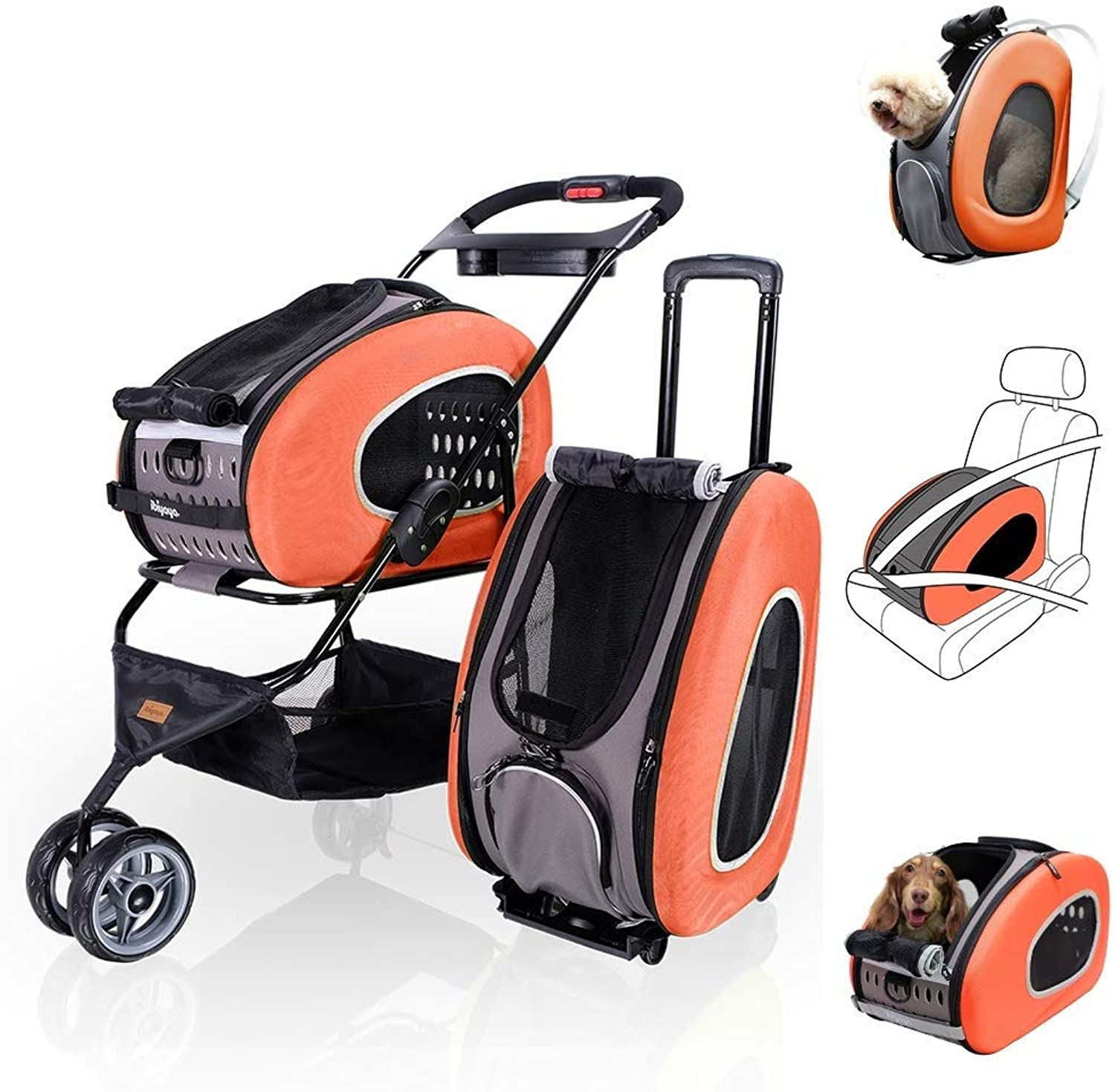 MC.PIG Pet Folding Stroller 5 in 1 Pet Carrier + Backpack + CarSeat + Pet Carrier Stroller + Carriers with Wheels for Dogs and Cats All in ONE (color   orange)