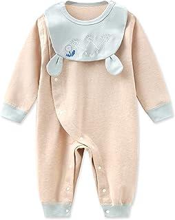الوليد الطفل بنين فتاة القطن رومبير ارتداءها قطعة واحدة بذلة مع مجموعة مريلة (Color : Blue, Size : 73CM)