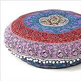 Eyes of India - 32' Azul Mandala Suelo Cojín Asiento Meditación Almohada Manta Funda Hippie Redondo Colores Decorativos Boho Bohemio Cama para Perro Indio Tapa - Azul Oscuro #1