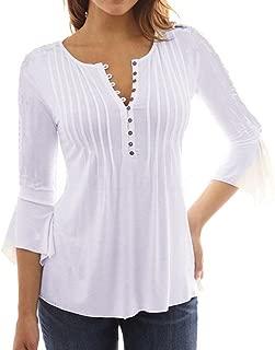 UMIPUBO Camicetta Donna Cerniera Bluse e Camicie Elegante Tunica Chiffon Shirt Camicie OL Casual Loose Top