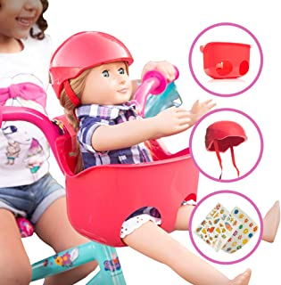 Bikes on Hikes Doll Seat Set - Universal Scooter and Bicycle Carrier and Helmet for Dolls and Stuffed Toys - Fun Hot Pink Bike Accessories and Birthday Gift for Girls