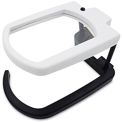 29734efb7383e Fancii LED Illuminated Hands Free Magnifying Glass with Stand   Lanyard -  2.5X Rectangle Lens