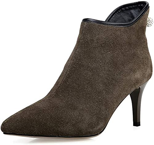 Moojm Bottes femmes, cheville bottes femmes plus velours pour garder chaud Stiletto talon pointu Toe Side Zipper bottes (3 couleurs)