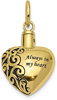 10k Yellow Gold Heart Remembrance Ash Holder Pendant Charm Necklace Love S/love Message Fine Jewelry Gifts For Women For Her