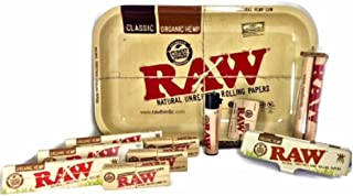 Bundle-Raw Rolling Tray Plus 3 Raw Organic King Size Rolling Papers Plus Paper Tin, 3 Raw Perforated Gummed Tips, 110 Roller, Raw Hemp Wick and Raw Clipper Lighter