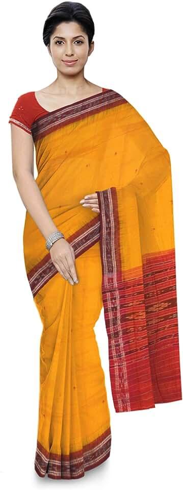 Indian ODISHA HANDLOOM Women's Sambalpuri Cotton & Silk Saree Without Blouse Piece (o 37_Yellow) Saree