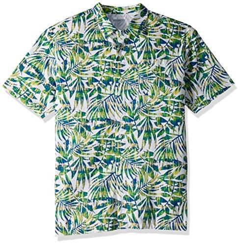 Columbia Camiseta de Manga Corta Trollers Best Big & Tall para Hombre, Hombre, 1438984, Emerald City Ikat Palm Print, 3X