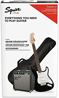Fender 0301812406 Squier Affinity Stratocaster Guitar Pack with Frontman 10G Amplifier, Black