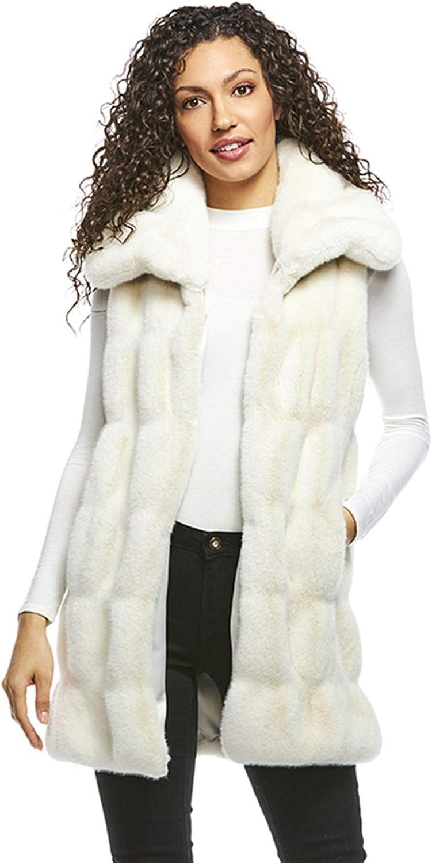 Ivory Phoenix Mall Mink Couture Snuggle Fur Vest Collar Faux Recommendation