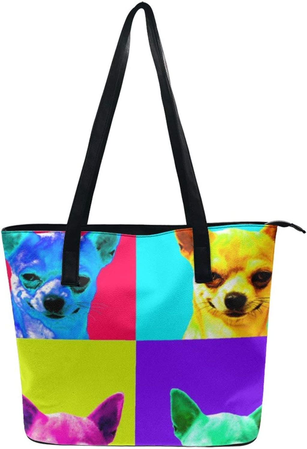 NiYoung Stylish Tote Bag for Women PU Leather Tote Handbags Lightweight Large Capacity Shoulder Bags Travel Business Shopping School Casual Bag with Zipper, Animal Dog Chihuahua Pop Art