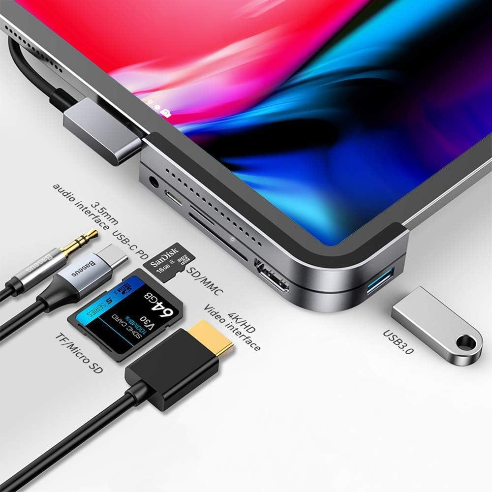 Baseus iPad Pro USB C Hub Laptop Docking Stations W/ 3Pcs Magnetic Pad USB-C PD Charging 4K HDMI,SD/Micro Card Reader, USB 3.0 & 3.5mm Headphone Jack,6-in-1 Type-C Adapter