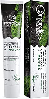 Nordics Teeth Whitening Toothpaste Activated Charcoal and Matcha, 100% Natural Fluoride Free, Vegan Cruelty-Free 75ml