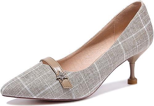 DKFJKI Frauen Pumps Tipps Stilettos Metalldekoration