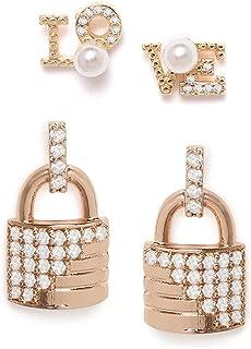 Zaveri Pearls Set of 2 Rose Gold Contemporary Cubic Zirconia Brass Stud Earrings For Women-ZPFK11167