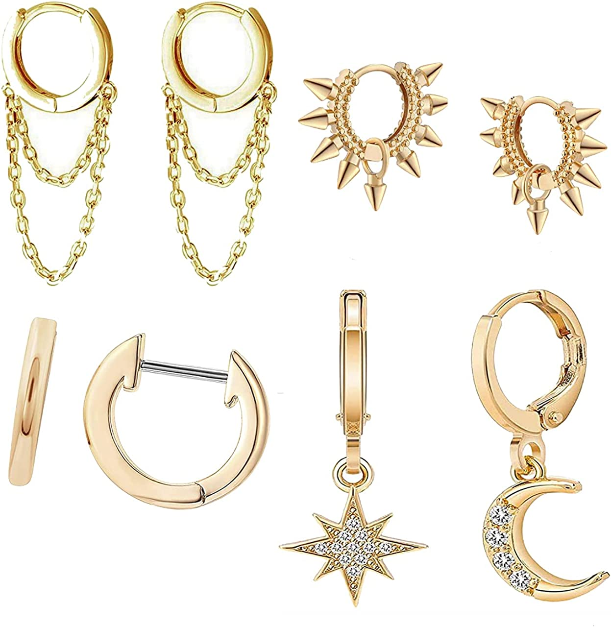 Seaberila 8 Pcs Austin Mall Huggie Hoop Animer and price revision Earrings Spi Punk Goth Stud