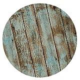 Vintage Tischdecke Gartentischdecke Rundtischdecke, Elastisch für Rund/Oval Tisch - Schäbiges Holz 1.2m