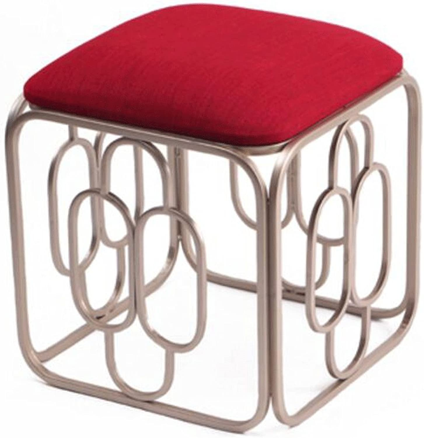 TXXM Barstools Metal Fashion Makeup Stool Linen Cushion Stool Meal Stool shoes Bench Coffee Table Stool (color   B, Size   H48CM)