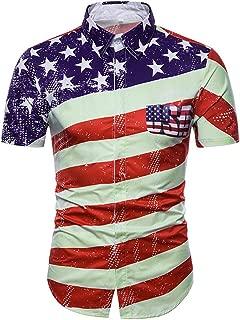 Men's Casual Slim Short Sleeve American Flag Printed Shirt Top Blouse