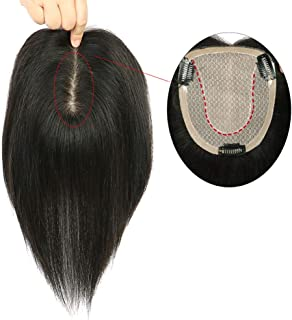 Hairpieces Hair Extension Silk Wig Lace Closed Black Women's Wig Hair Weave (Color : Black, Size : 12x14-25cm)