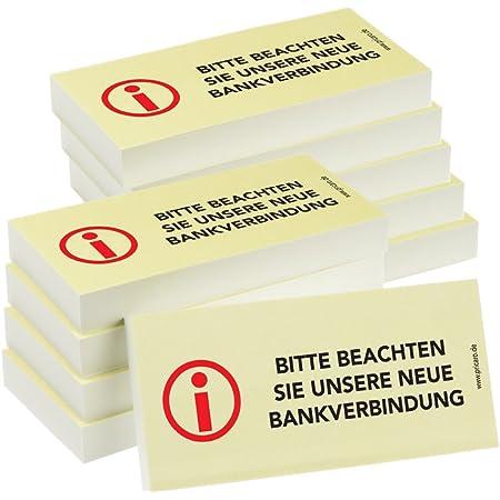 5 Stk. BIZSTIX/® Business Haftnotizen Bitte beachten Sie unsere neue Bankverbindung!