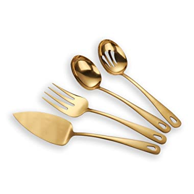 Berglander Stainless Steel Golden Titanium Plated Flatware Serving Set 4 Pieces, Cake Server Cold Meat Fork Pierced Serving Spoon Serving Spoon, Golden Silverware Set (shiny, Golden)
